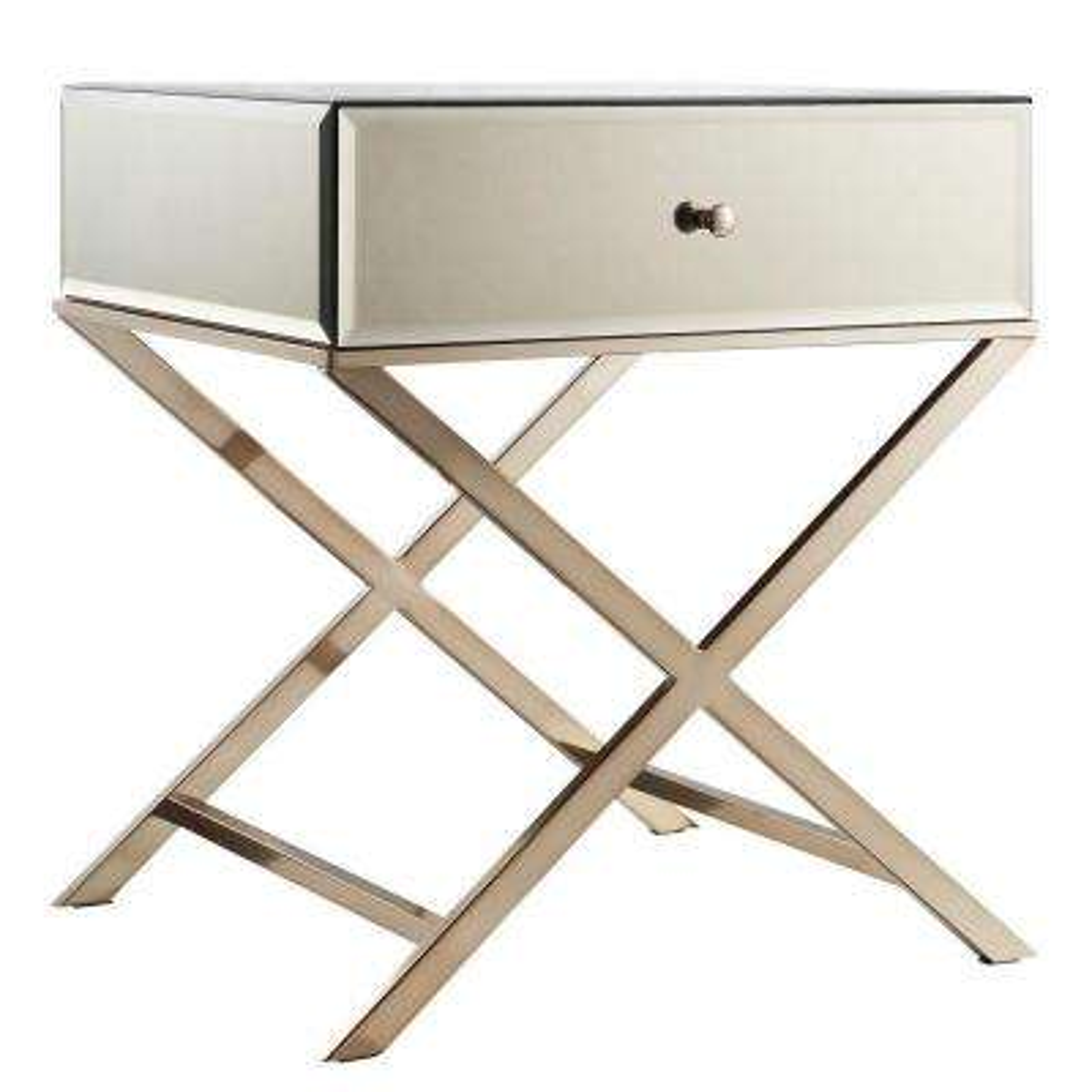 Cecilia Champagne Brass Mirrored End Table