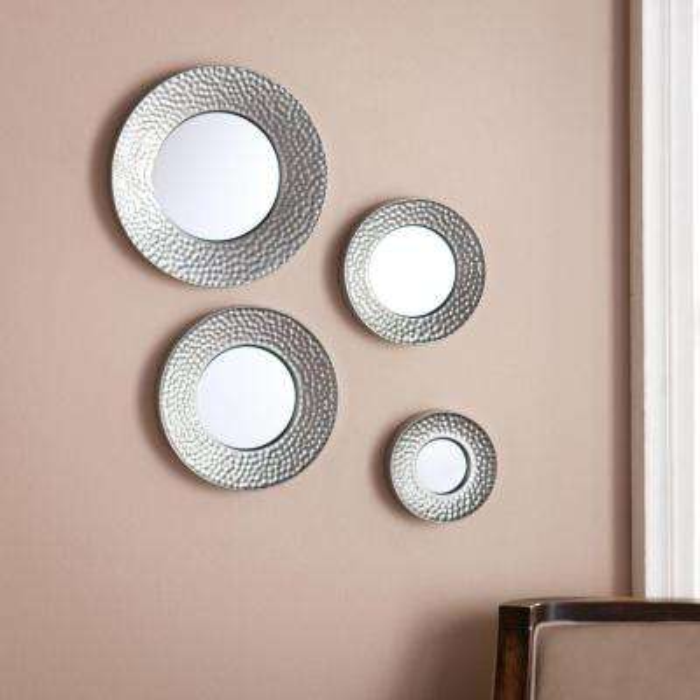 6 in. Dia, 7.75 in. Dia, 9.75 in. Dia, 11.75 in. Dia Silver Sphere Wall Mirrors (4-Piece)