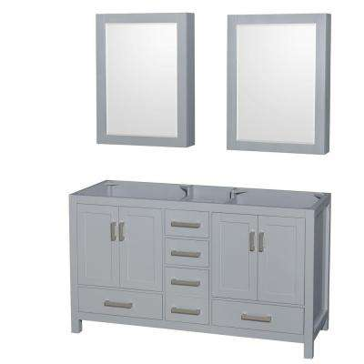 Sheffield 60 in. Vanity Cabinet with Medicine Cabinet Mirrors in Gray