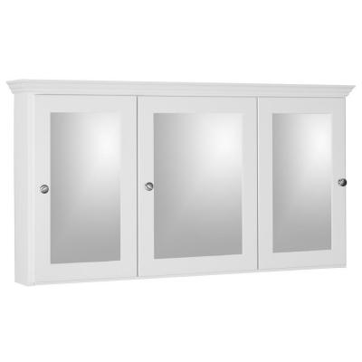 Shaker 48 in. W x 27 in. H x 6-1/2 in. D Framed Tri-View Surface-Mount Bathroom Medicine Cabinet in Satin White