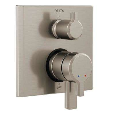 Pivotal 2-Handle Wall-Mount 3-Setting Integrated Diverter Trim Kit in Stainless (Valve Not Included)