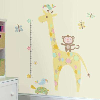 5 in. x 19 in. Tribal Baby Animal Growth Chart 19-Piece Peel and Stick Wall Decals