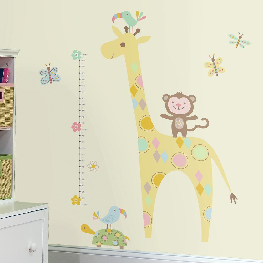RoomMates 5 in. x 19 in. Tribal Baby Animal Growth Chart 19-Piece ...
