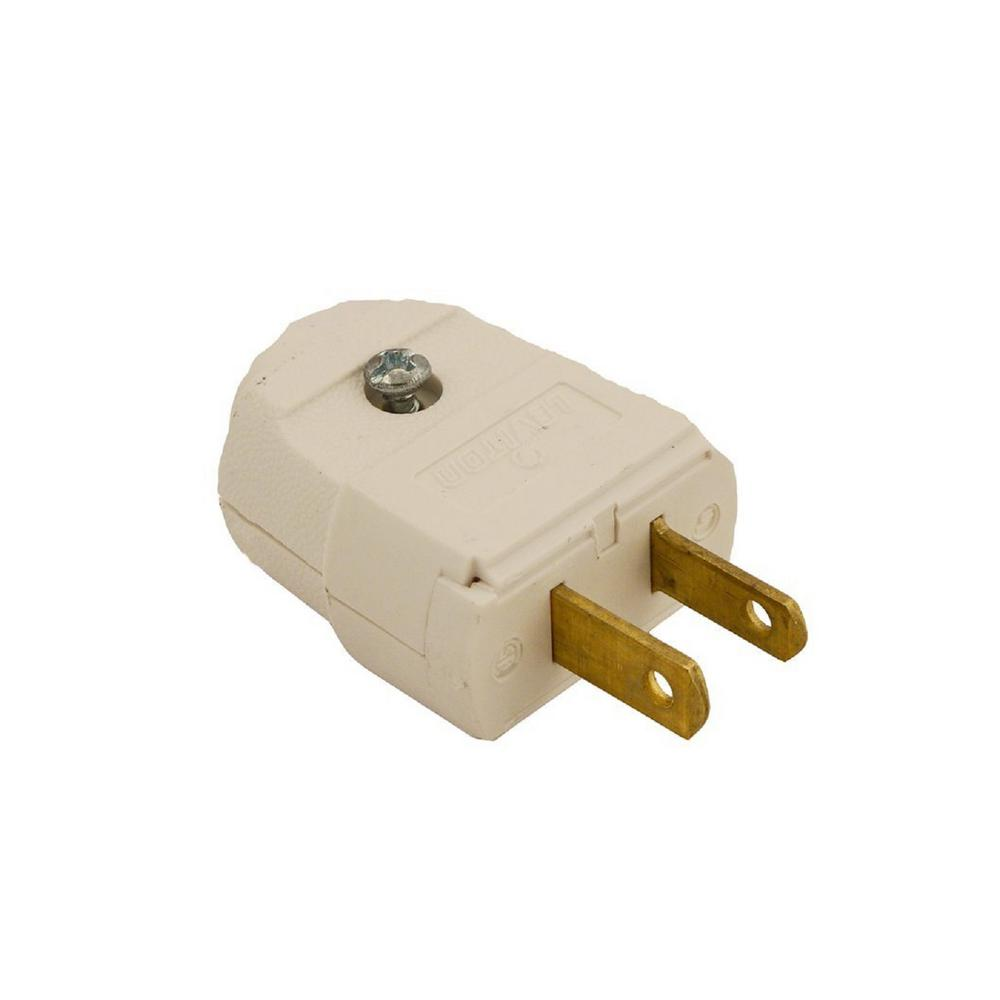 Leviton 15 Amp 125-Volt 2-Pole 2-Wire Polarized Plug, White