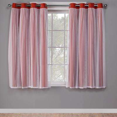Catarina 52 in. W x 63 in. L Layered Sheer Blackout Grommet Top Curtain Panel in Spicy Orange (2 Panels)