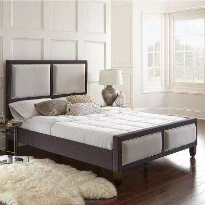 Mallory Gray Queen Panel Upholstered Platform Bed Frame