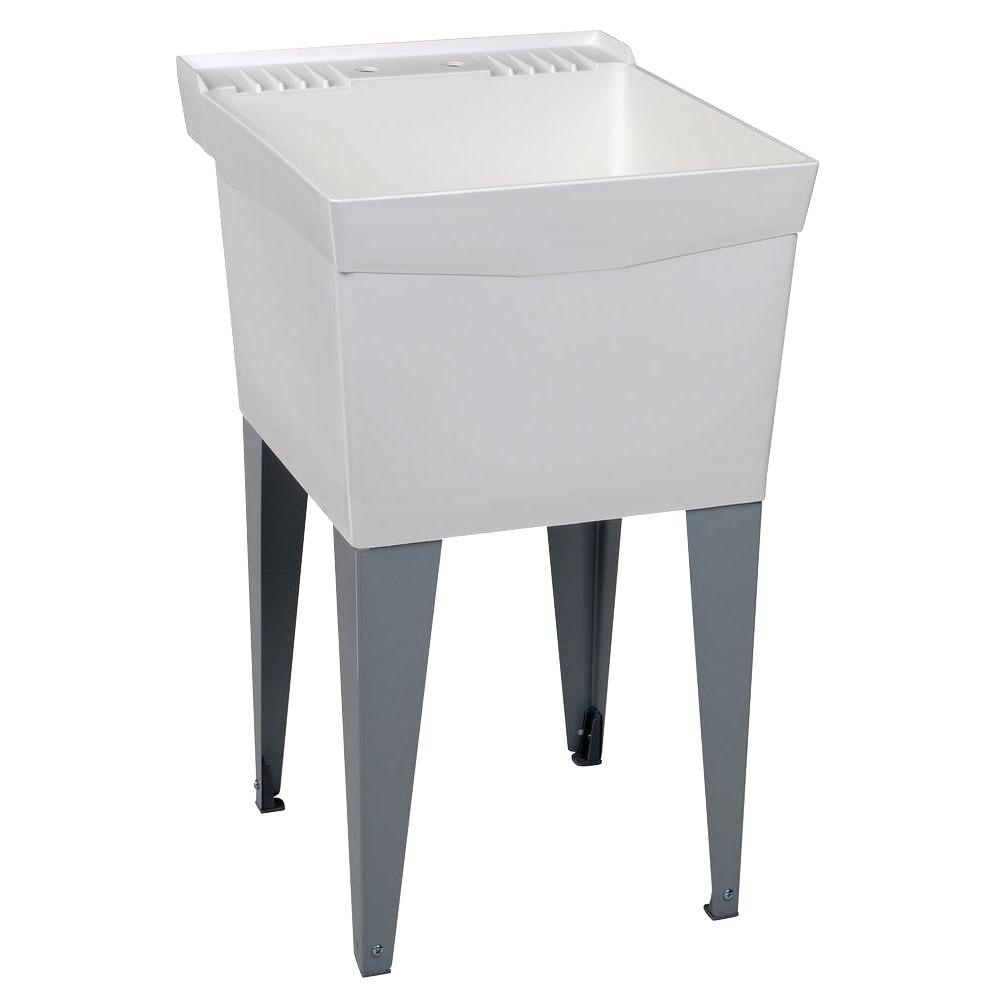 MUSTEE Utilatub 24 in. x 20 in. Structural Thermoplastic Floor-Mount Utility Tub in White