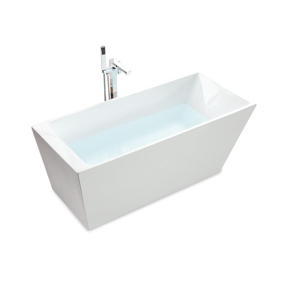 Freestanding Tub With Deck Mount Faucet.Jade Bath Oregon 67 In Acrylic Flatbottom Seamless One Piece Freestanding Bath Tub In White With Ledge For Deck Mounted Faucet