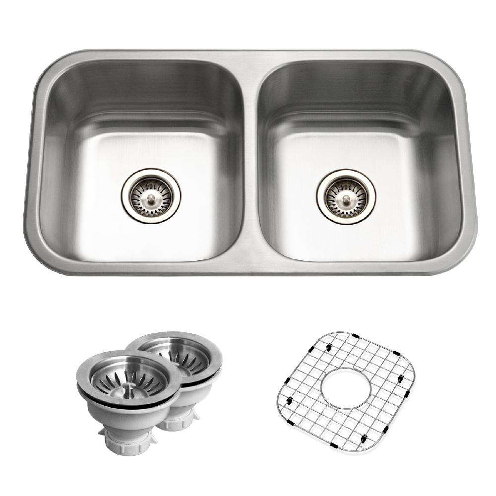 HOUZER Belleo Series Drop-In 32 in. Stainless Steel Double Bowl ...