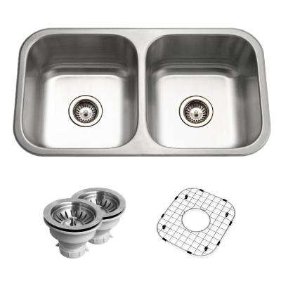 Belleo Series Drop-In 32 in. Stainless Steel Double Bowl Kitchen Sink