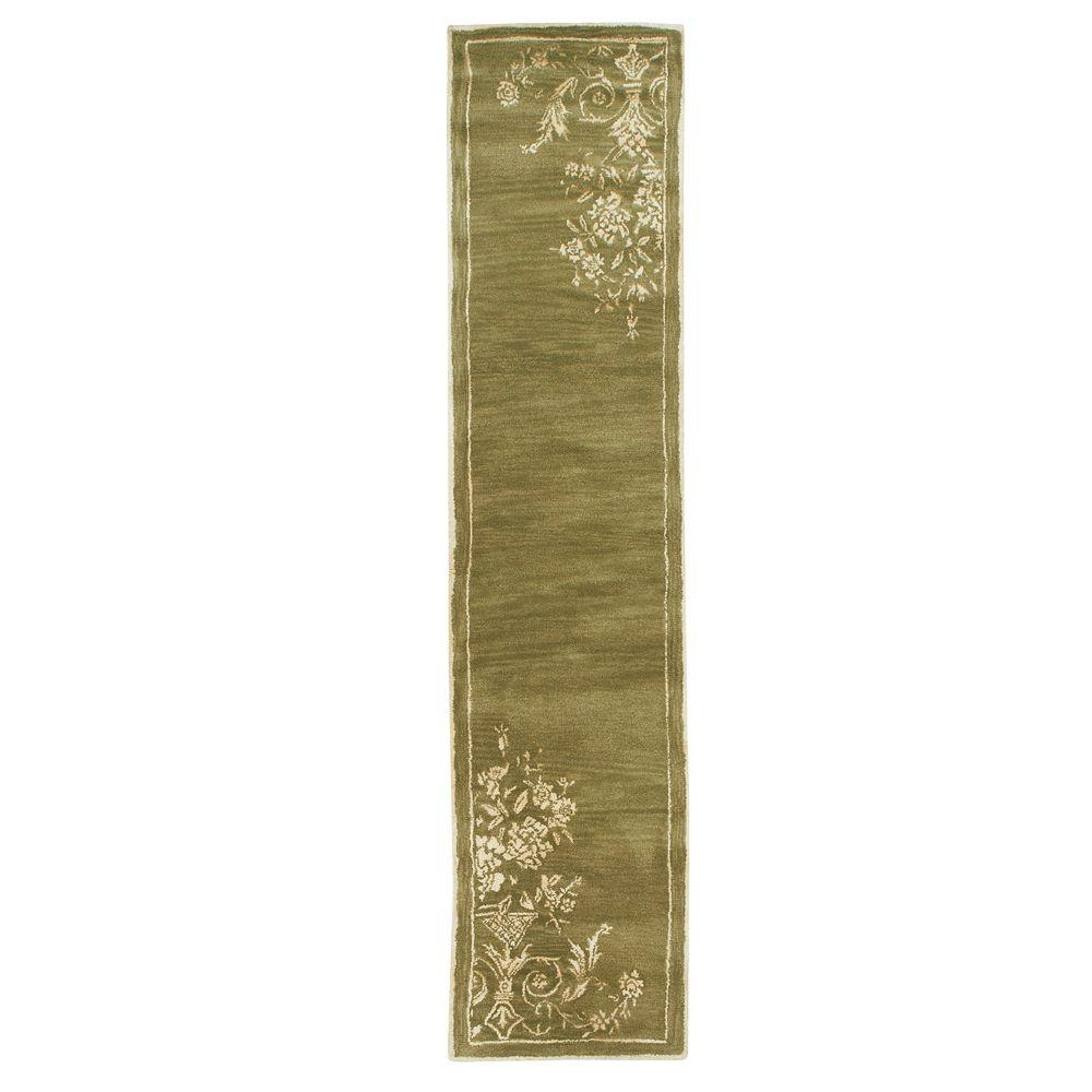 Home Decorators Collection Eminence Sage and Cream 2 ft. 9 in. x 14 ft. Rug Runner