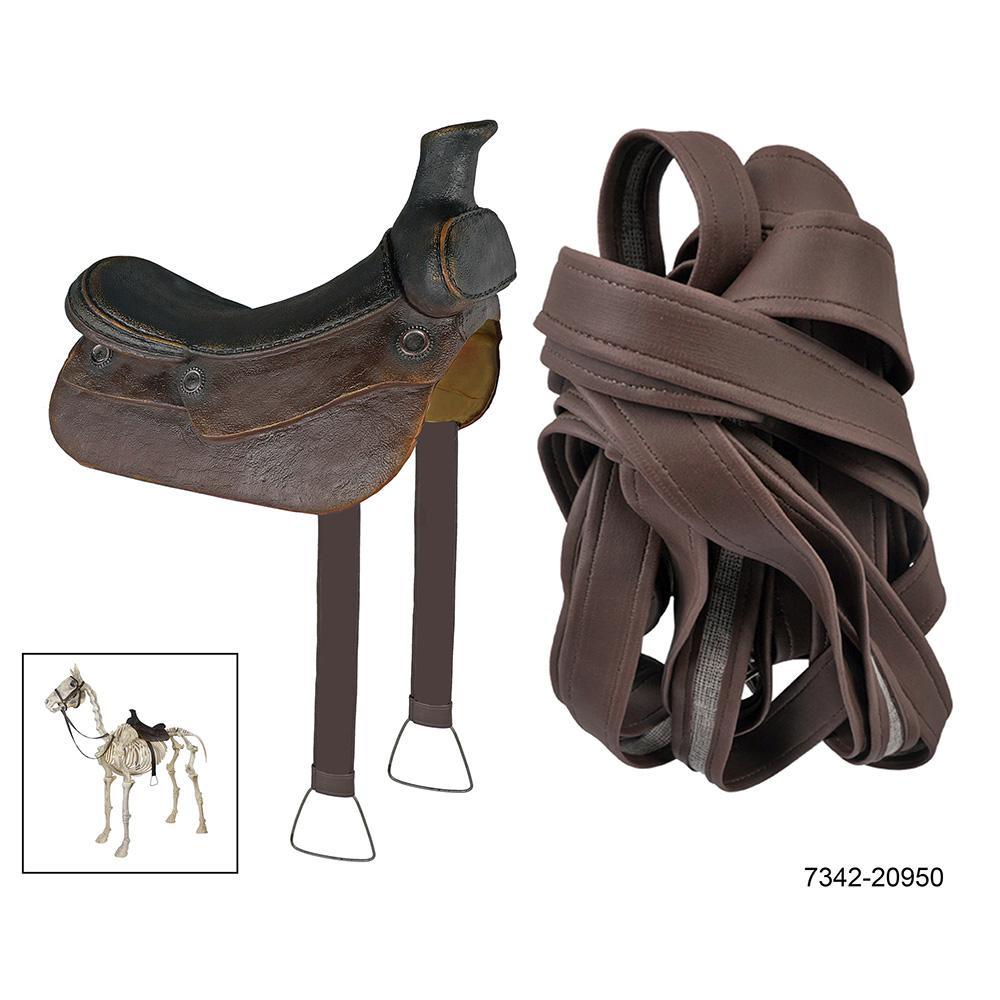 dress up accessory for skeleton horse including saddle bridle