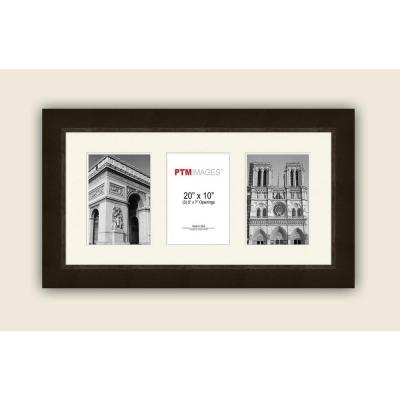 3-Opening Horizontal 5 in. x 7 in. White Matted Espresso Photo Collage Frame