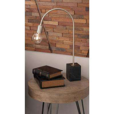 24 in. Modern Black and Silver Bent Table Lamp