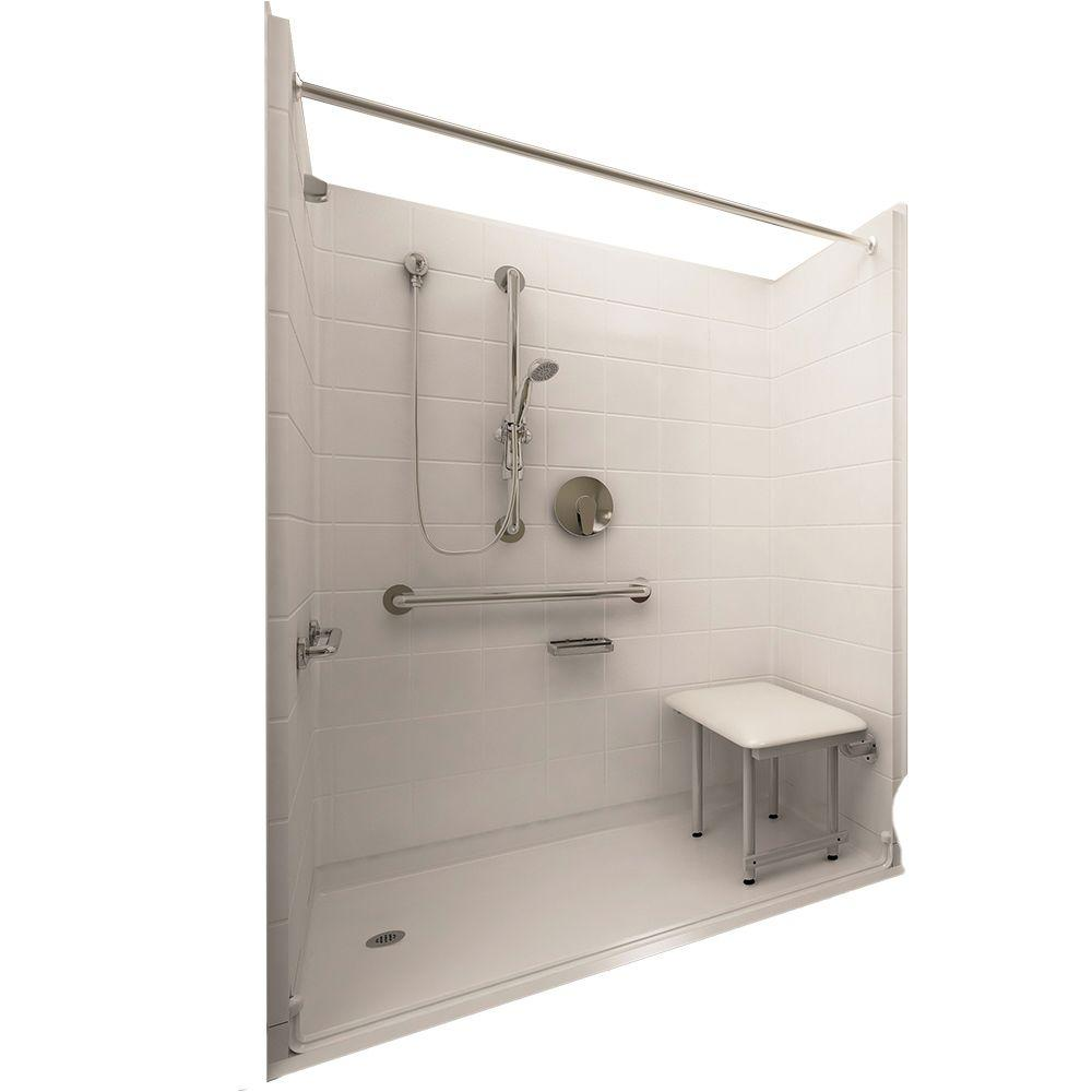 Ella Deluxe 33-4/12 in. x 60 in. x 77-1/2 in. 5-piece Barrier Free Roll In Shower System in White with Left Drain