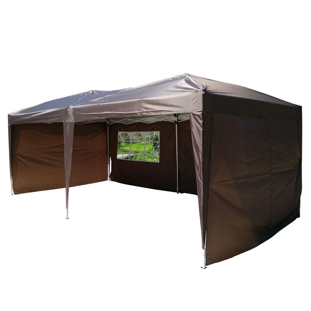 19.7 ft. x 9.8 ft. 2-Windows Practical Waterproof Folding Shed Tent Dark Coffee