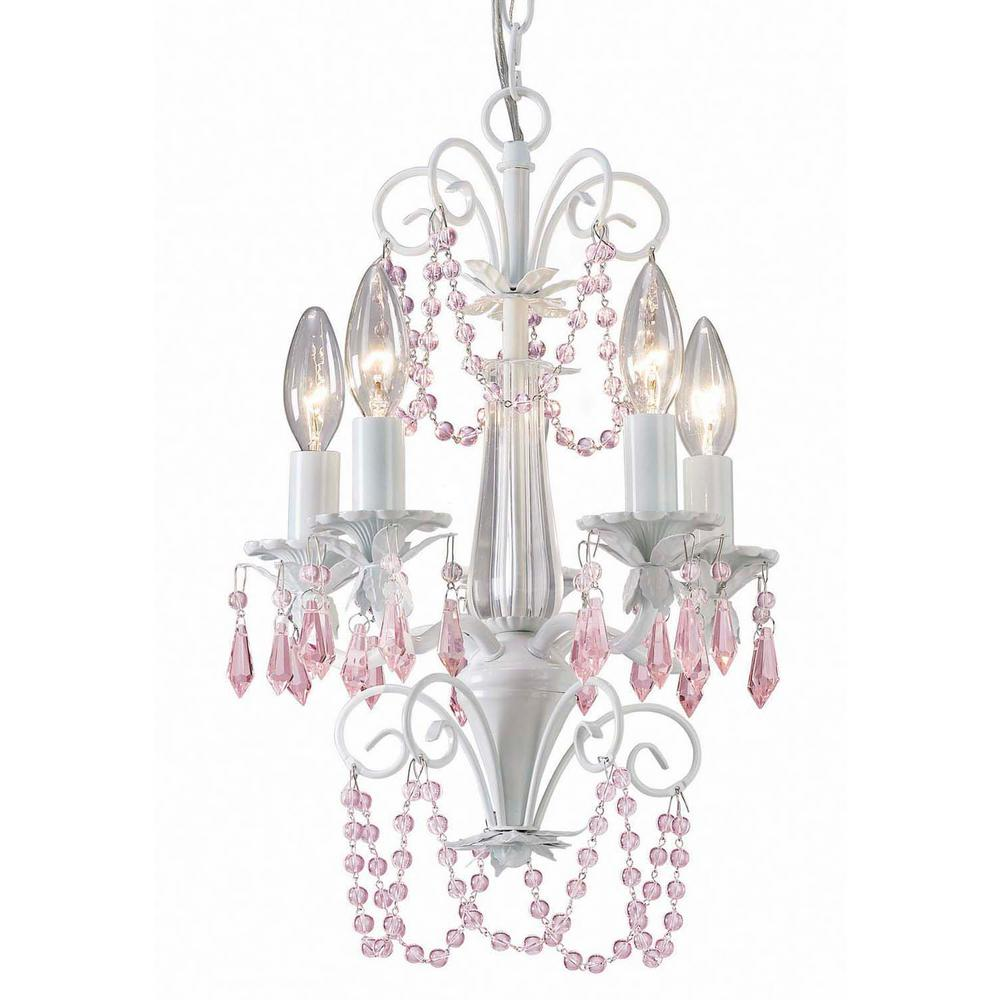 CANARM Danica 5-Light White Chandelier with Pink Crystals