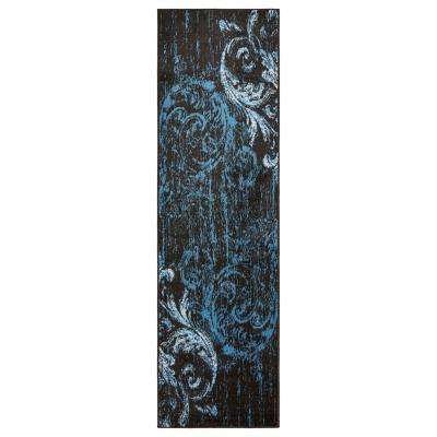 Infinity Black/Sky Blue 2 ft. 1 in. x 7 ft. 5 in. Indoor Runner Rug