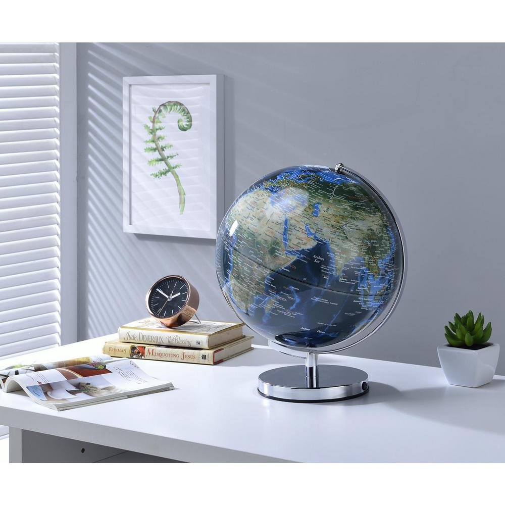 15 in. True Outward Blue Globe with City Lights on Chrome