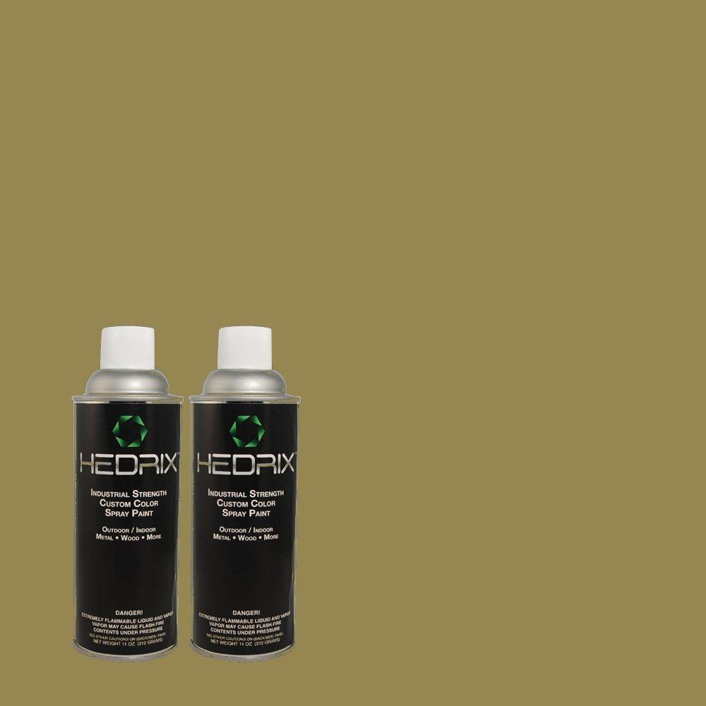 Hedrix 11 oz. Match of PMD-47 Martini Olive Gloss Custom Spray Paint (2-Pack)