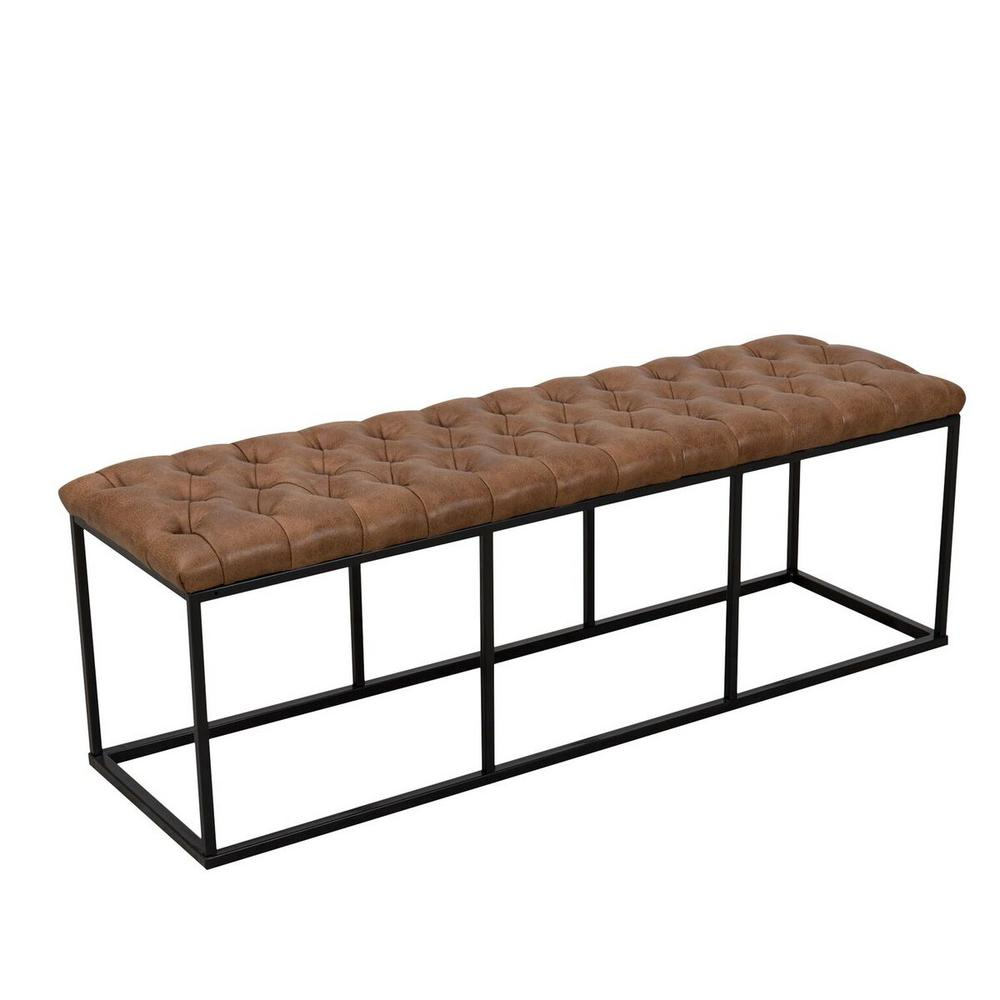 Homepop Draper Large Light Brown Faux Leather Decorative Bench With Button Tufting K7116 Ydqy 2 The Home Depot