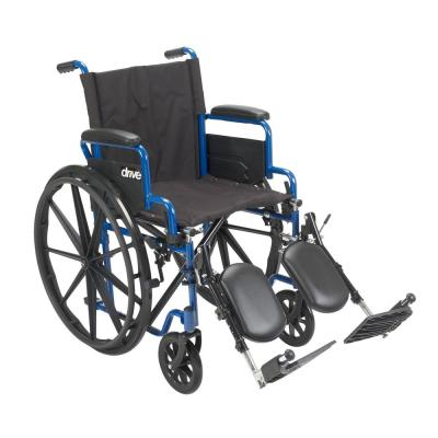 16 in. Blue Streak Wheelchair with Flip Back Desk Arms and Elevating Leg Rests