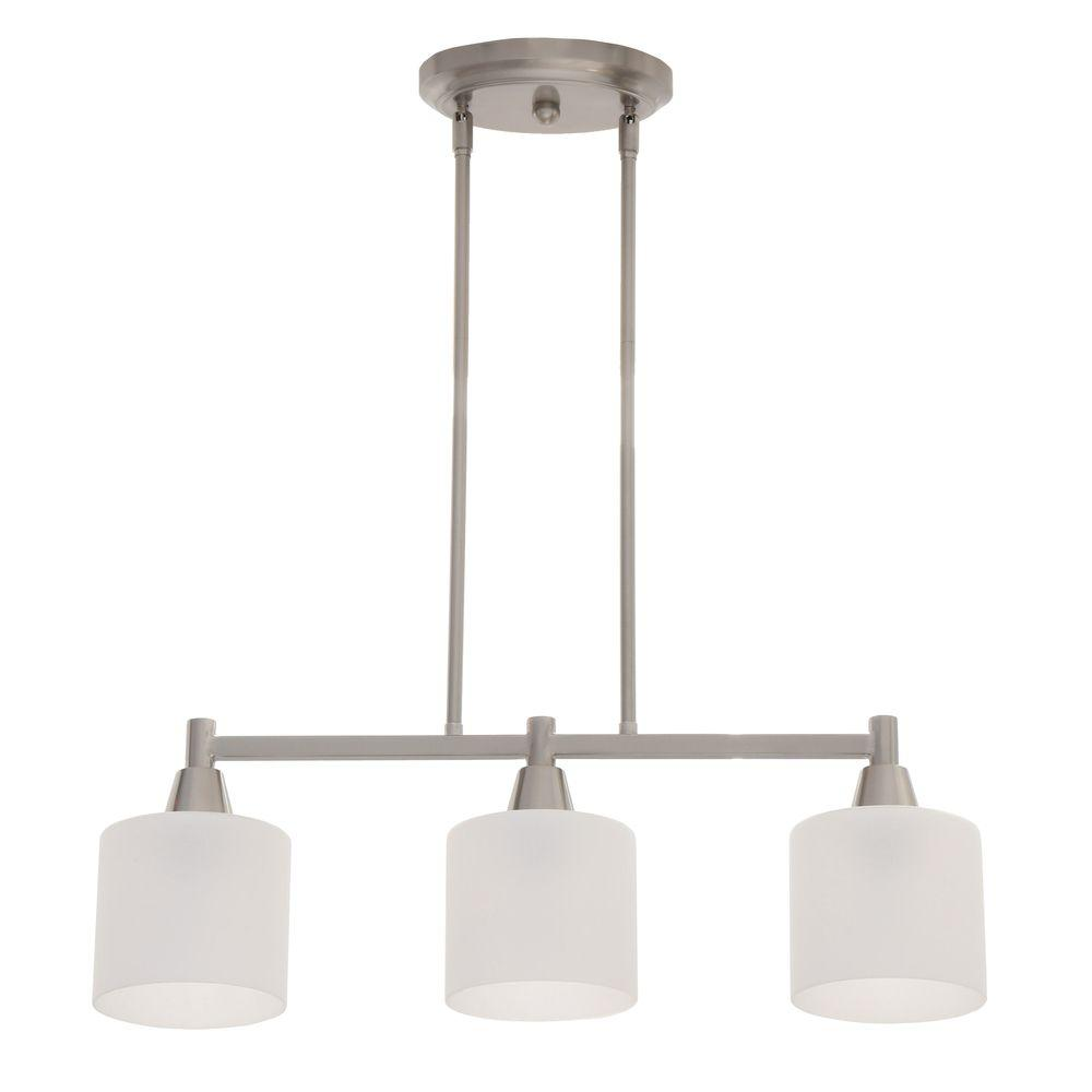 Hampton Bay Oron 3-Light Brushed Steel Island Light with White Glass Shades