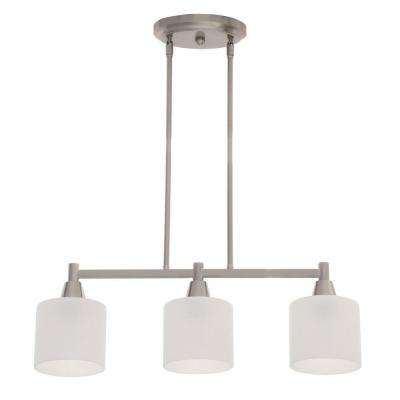 Oron 3-Light Brushed Steel Island Light