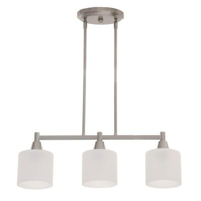 Oron 3-Light Brushed Steel Island Light with White Glass Shades