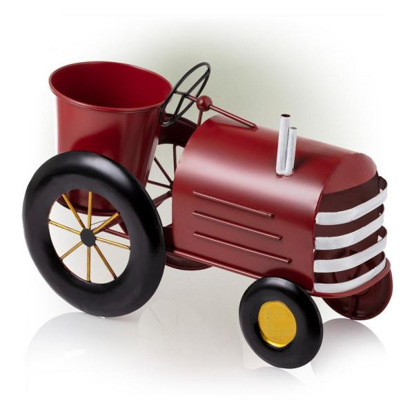 11 in. Tall Indoor/Outdoor Metal Tractor Flower Planter with Stand, Red