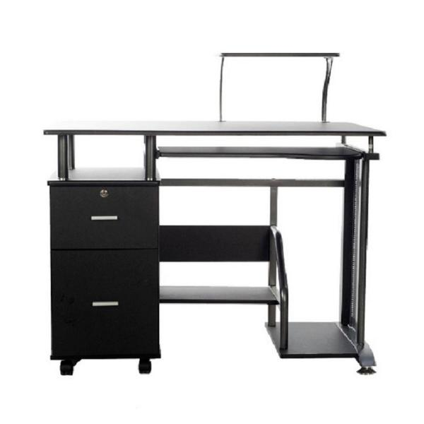 39 in. Rectangular Black 2 Drawer Computer Desk with Keyboard Tray