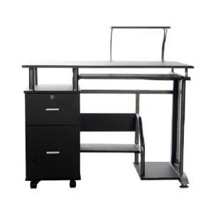 Onee Rothmin Black Computer Desk With Storage Cabinet 50 100505 The Home Depot