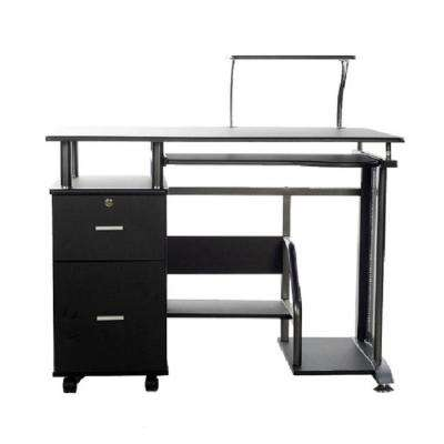 Rothmin Black Computer Desk with Storage Cabinet