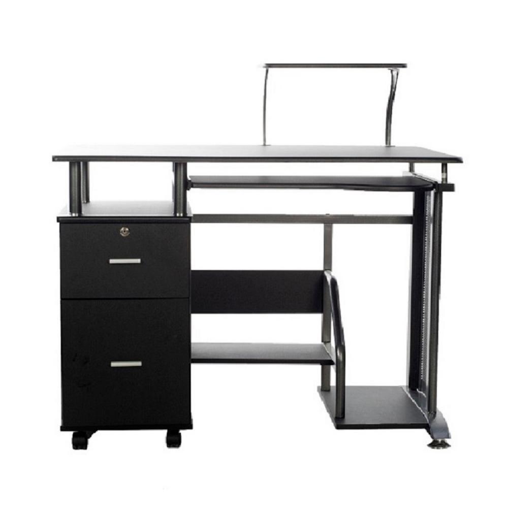 Rothmin Black Computer Desk With Storage Cabinet