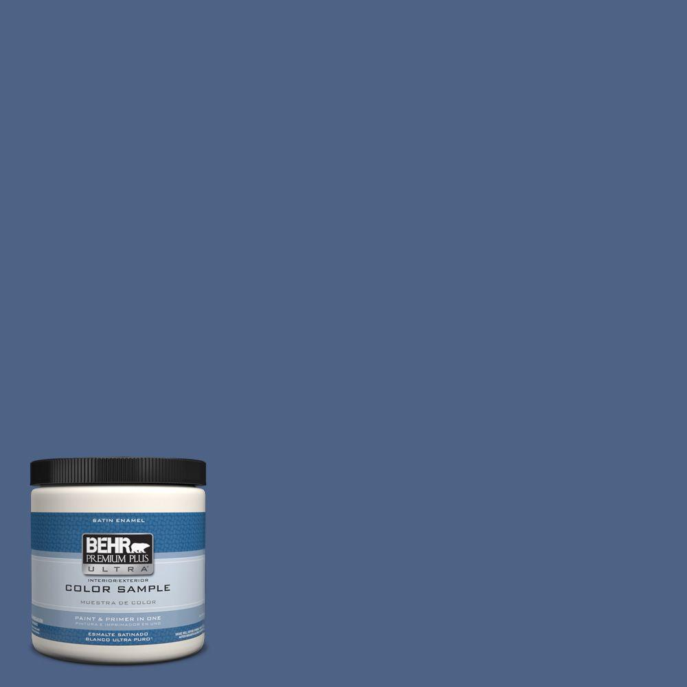 Behr premium plus ultra 8 oz ppu15 4 mosaic blue interior exterior satin enamel paint sample - Exterior satin wood paint property ...