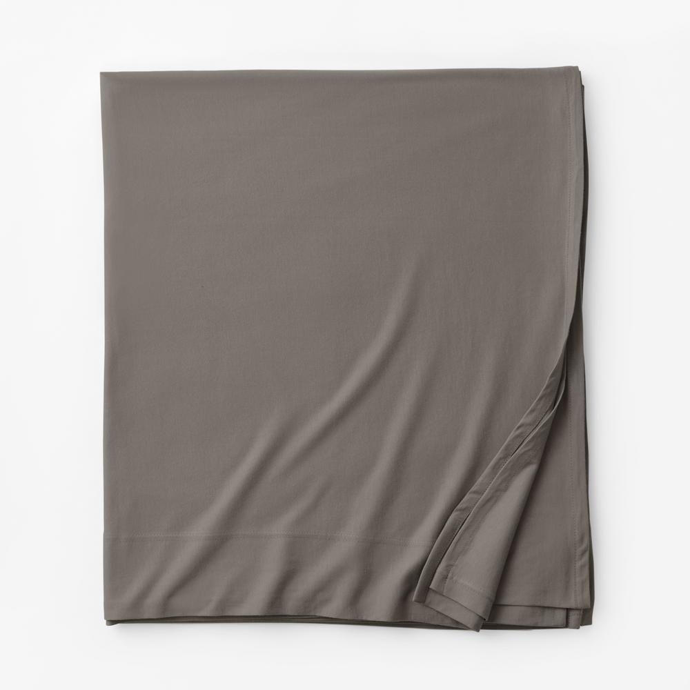 Organic Cotton Jersey Knit Gray Fog Solid Full Flat Sheet