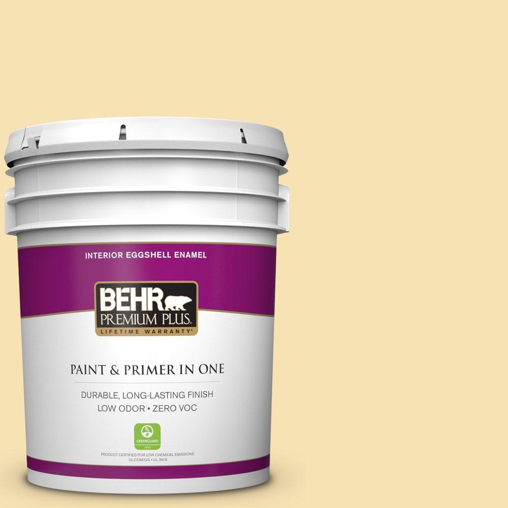 BEHR Premium Plus 5-gal. #370C-3 Sweet Corn Zero VOC Eggshell Enamel Interior Paint