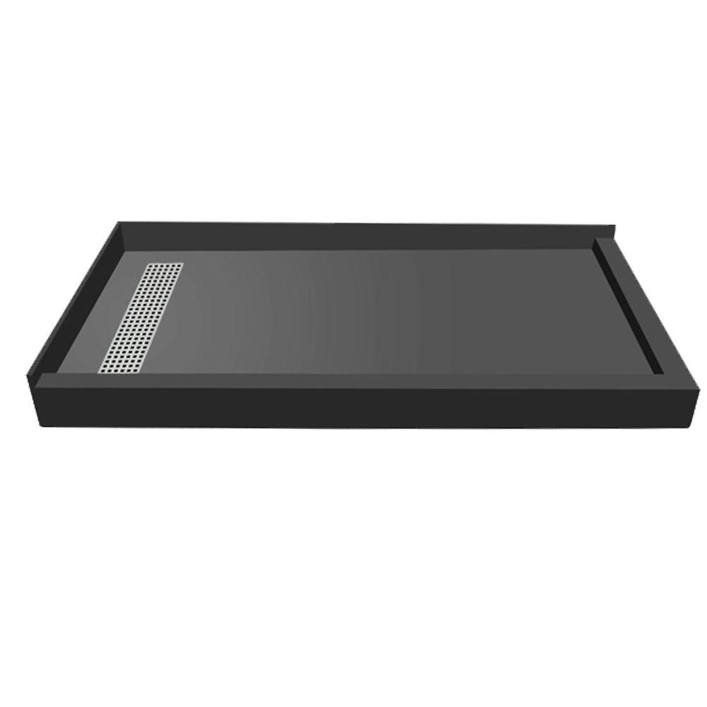 Redi Trench 32 in. x 60 in. Double Threshold Shower Base with Left Drain and Polished Chrome Trench Grate