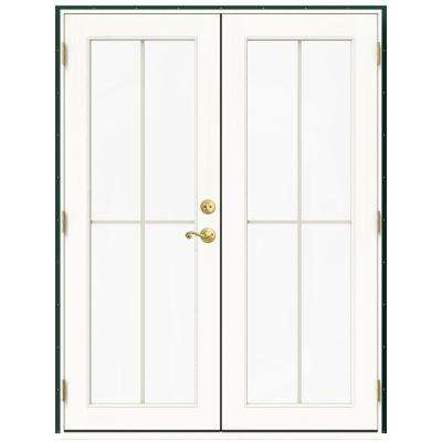 60 in. x 80 in. W-2500 Green Clad Wood Right-Hand 4 Lite French Patio Door w/White Paint Interior