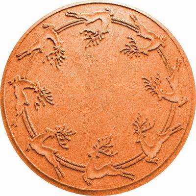Aqua Shield Orange 35 in. Round Reindeer Run Under the Tree Mat