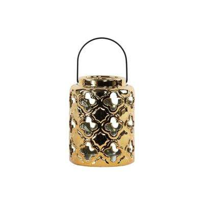 Gold Candle Ceramic Decorative Lantern