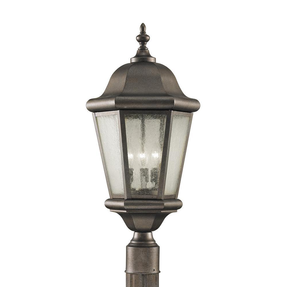 Martinsville 3-Light Corinthian Bronze Outdoor Post Lantern