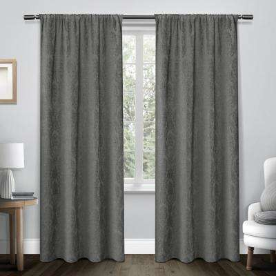 Damask Soft Grey Chenille Heavyweight Jacquard Medallion Rod Pocket Top Window Curtain