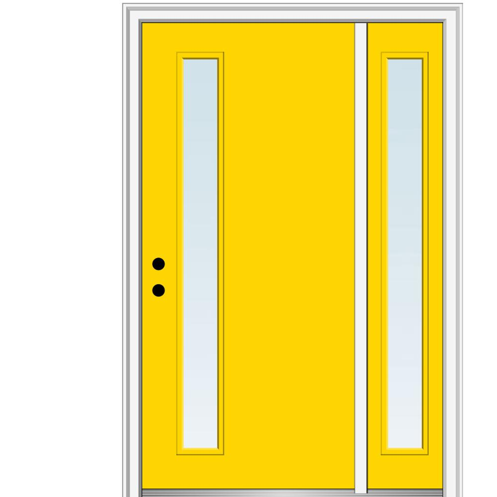 MMI Door 51 in. x 81.75 in. Viola Clear Low-E Right-Hand Inswing 1-Lite Midcentury Painted Steel Prehung Front Door with Sidelite