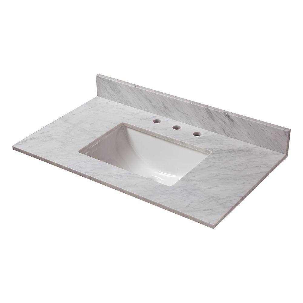 37 in. W Marble Vanity Top in Carrara with Trough Sink