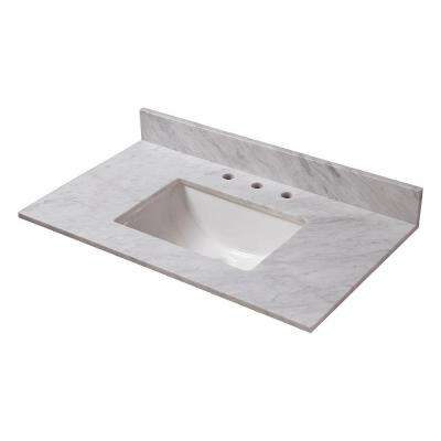 37 in. W Marble Vanity Top in Carrara with Trough Sink