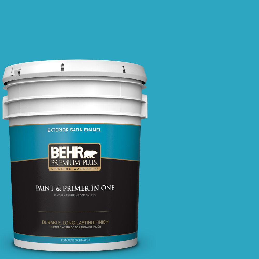 5 gal. #MQ4-52 Gulf Waters Satin Enamel Exterior Paint and Primer