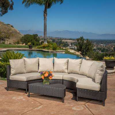 Newton Dark Brown 5-Piece Wicker Outdoor Sectional with Taupe Cushions