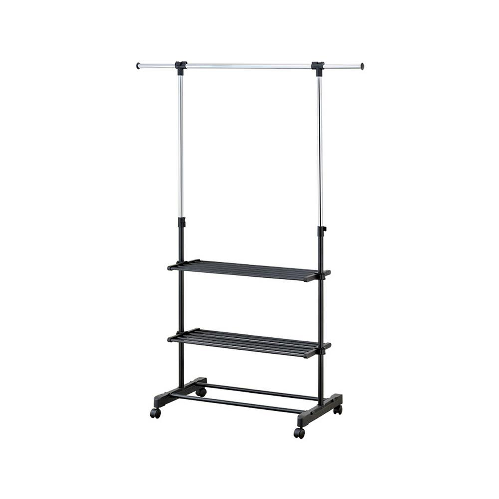 Mind Reader 55 in. x 67.75 in. Black with Silver Metal Garment Rack and Shelves Have a safe place to hang extra garments, store shoes and other fashion accessories with this shelved garment rack. The sleek design features three movable shelves to use as storage and as shoe racks. The adjustable steel bars both collapse for easy storage and extend to hang long dresses and coats. The smooth wheels help make the rack movable and easily accessible in every room. Color: Silver.