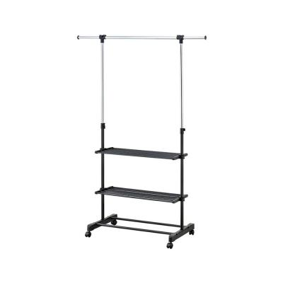 55 in. x 67.75 in. Black with Silver Metal Garment Rack and Shelves